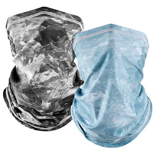MCTi UV Neck Gaiter Mask, UPF 50 Bandana Balaclava Face Mask Breathable Cooling Sun Summer for Fishing Running 2 Packed Black and Light Blue