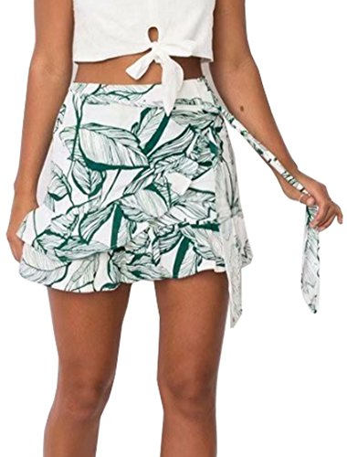 YNC Fashion Women's Summer Casual Floral Print Flare Short Mini A Line Skirt