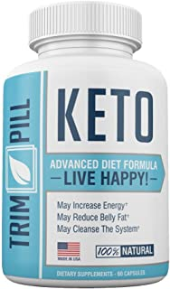Trim Pill Keto Weight Loss Diet Pills (60 Capsules) Promote Fat Burning, Boosted Metabolism | Natural Ketosis Detox Cleanse for Men and Women | Safe, Effective