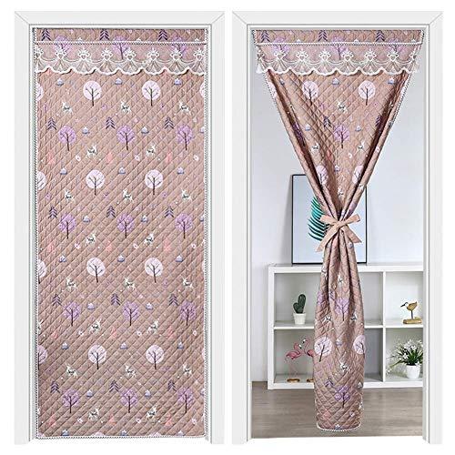 Cortina de puerta gruesa de invierno, cortina de partición de aire acondicionado insonorizada, cortina de entrada, cortina suave para puerta de patio con barra de cortina, a 90 x 200 cm (35