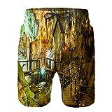 saletopk Bañador De para Hombre Pantalones Playa Shorts, Antiguas formaciones rocosas Dentro de la Cueva en la bahía de Halong, Vietnam Secado Rápido Ligero Baño Cortos S