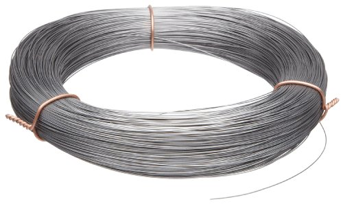 """High Carbon Steel Wire, Mill Finish #2B (Smooth) Finish, Grade #2B Smooth, Full Hard Temper, Meets ASTM A228 Specifications, 0.008"""" Diameter, 5853' Length, Precision"""