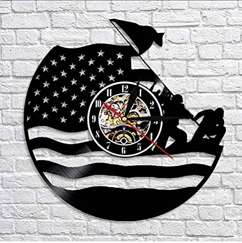 KDBWYC Reloj de Pared del ejército de EE. UU, Reloj de Pared con Registro de Vinilo, Guardia Costera, Bandera de los Estados Unidos, Marina de Guerra, Reloj Decorativo Vintage de Veterano