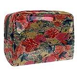 Bolsa de maquillaje portátil con cremallera bolsa de aseo de viaje para mujeres práctico almacenamiento cosmético bolsa brillante pétalos rojos