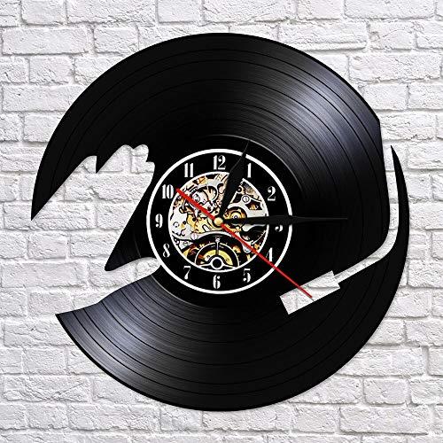 BFMBCHDJ DJ Musik Schallplatte LP Wanduhr Uhr 3D Nachtlicht Party Tanzhalle Dekor Vintage Uhr Musik Club Geschenk für DJ Keine LED 12 Zoll