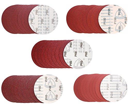 Klingspor PS 18 EK Schleifscheibe   Ø 150 mm   ungelocht (GLS 0)   50-teiliges Premium-Set   Je 10 Scheiben der Körnungen 40,80,120,180,240