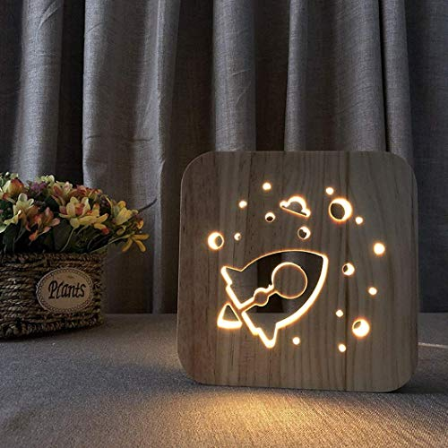 3D Wooden Carved Night Light LED Desk Lamp Rocket Cartoon R Shape Edging Table Lamp Bedside Light Creative Print Lamp Bedroom Decoration for Kids Adults Christmas New Year Gift
