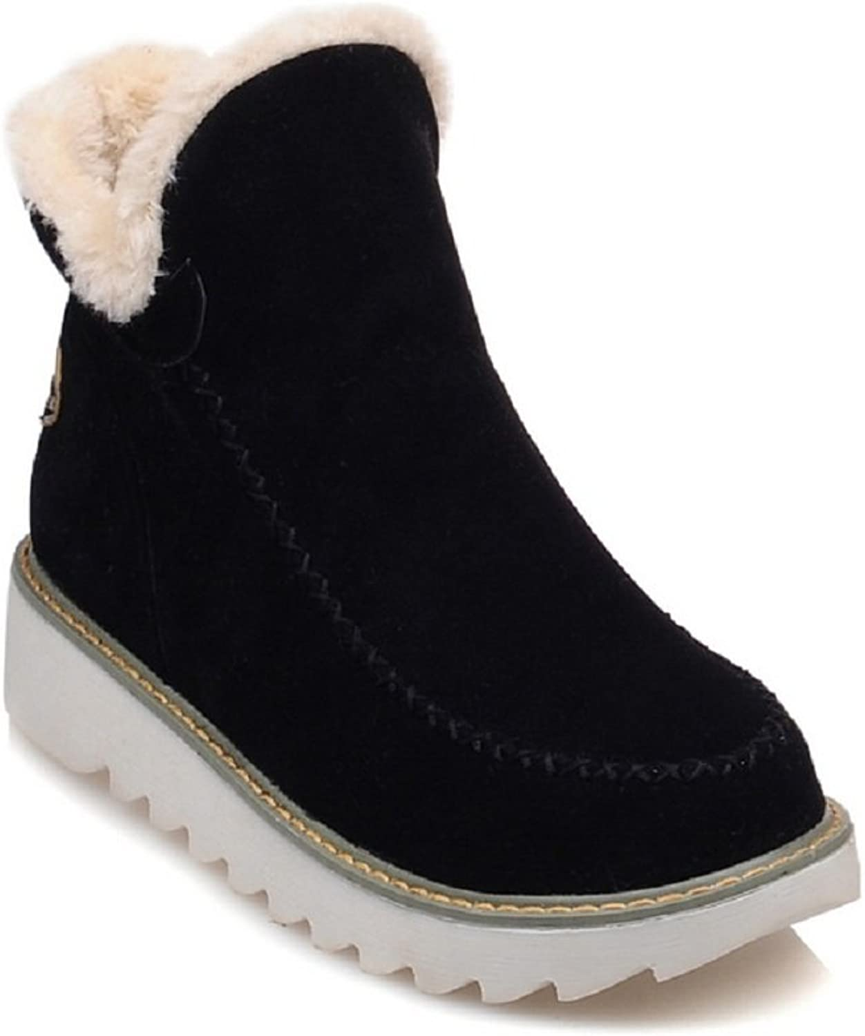 Women Fashion Suede Winter Fur Lined Flats Warm Snow Boots Slip on Ankle Booties Outdoor Walking Casual shoes