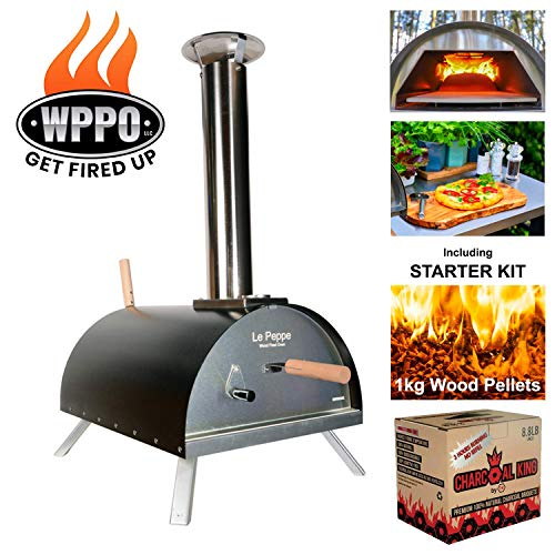 WPPO Le Peppe Multi-Fuel Deluxe Stainless Steel Outdoor Pizza Oven, Wood Fired Portable Oven and BBQ, Built-In Thermometer + FREE Starter Kit in Black
