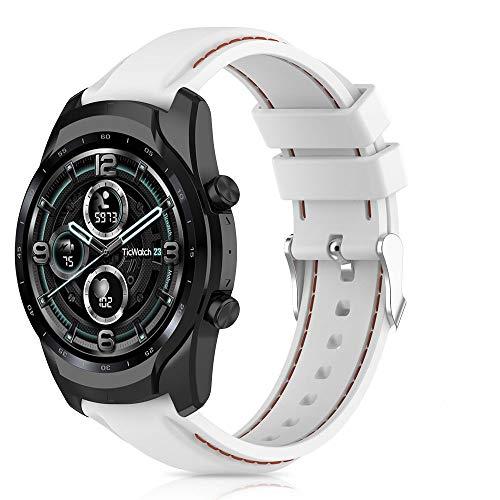 RIOROO Compatible para Ticwatch Pro 3/Pro 3 LTE/Pro/Pro 2020/ E2/S2/GTX Correa, 22mm Pulsera de Repuesto de Silicona Brazalete, Compatible para Huawei Watch GT2 46mm Correa (Sin Reloj),Blanco