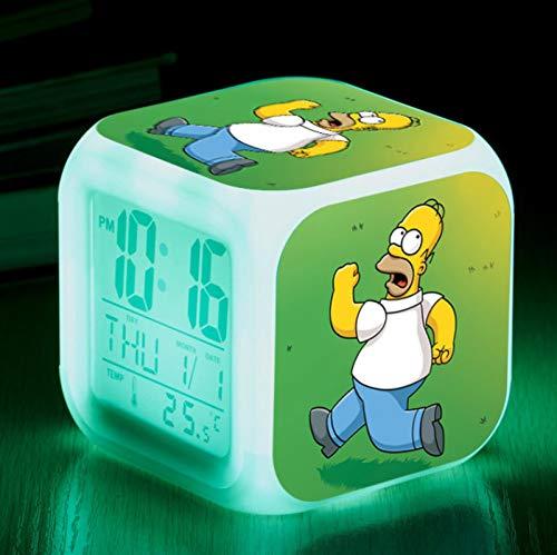 FTIK Reloj Despertador Cuadrado pequeño Digital de la Familia Simpson, luz de Noche silenciosa Luminosa Led de Despertador, batería USB Que Cambia de Color Colorido A2