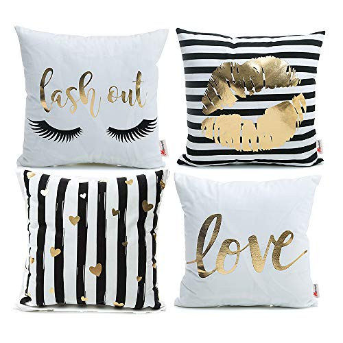 Monkeysell Pack of 4 Black and Gold Throw Pillow Lips Bronzing Flannelette Home Pillowcases Throw Pillow Cover Love Black Gold Lips Pattern Design Rock Punk Neoclassical Style 18 inches (White)