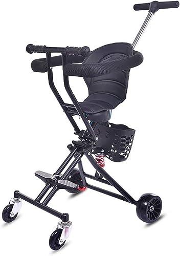 centro comercial de moda HYRL Bebé 3-en-1 Triciclo, Niño Tricycle Cochecito Cochecito Cochecito Cochecito Ligero Plegable Adecuado para 1-6 años de Edad Niño,negro  hermoso