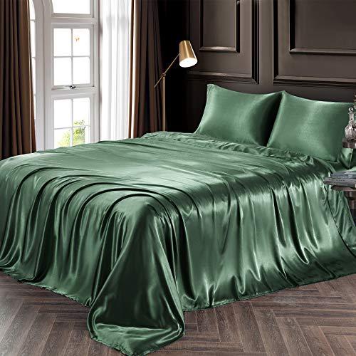 Chvonttow - Juego de sábanas de satén de lujo, 3 piezas, tamaño individual, resistente a las arrugas, la decoloración, las manchas,...