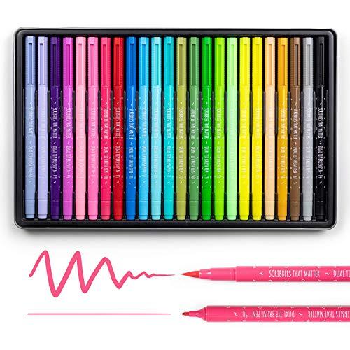 Scribbles That Matter - Rotuladores de punta doble con punta de pincel y marcadores de punta fina - Diario de bala, letras,...