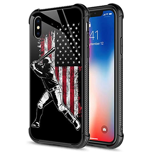 iPhone XR Case, American Flag Baseball Batter 9H Tempered Glass iPhone XR Cases [Anti-Scratch] Fashion Cute Pattern Design Cover Case for iPhone XR 6.1-inch American Flag Baseball Batter