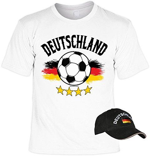 VERI 2-teiliges Fussball WM 2018 Deutschland T-Shirt Fahne Fanartikel Set Bundesliga Fan Trikot in weiss und besticktes schwarzes EM WM CAP Gr. 4XL : -