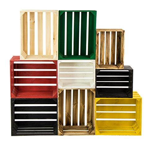 LAUBLUST 7er Set Vintage Holzkisten - Kisten in 2 Größen, 50x40x30cm / 40x30x25cm, Geflammt, Neu, Unbenutzt | Möbel-Kiste | Wein-Kiste | Obst-Kiste | Apfel-Kiste | Deko-Kiste aus Holz - 4