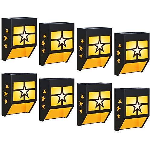 DBF Solar Fence Lights Outdoor Waterproof Solar Deck Lights Decorative Landscape Lighting Solar Powered Wall Light for Garden Yard Patio Path Step Frontdoor Post, 8 Pack (Warm Light)