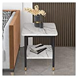 Mesas de café Mesa auxiliar de metal, mesa de 2 uñas Tablas de mesa de bandejas, mesa de teléfono de estante para sala de estar de sala de estar, Easy Assembly Mesa de centro de madera sintética