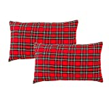 GTEXT 2 Pack Christmas Decor Red Plaids Pillow Covers Buffalo Check Throw Pillow Cover Tartan Cuhion Cover Case for Couch Sofa Home Decoration Cotton 20 X 12 Inches