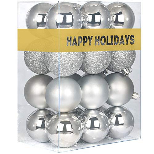 GameXcel 24Pcs Christmas Balls Ornaments for Xmas Tree - Shatterproof Christmas Tree Decorations Large Hanging Ball Silver 3.2' x 24 Pack