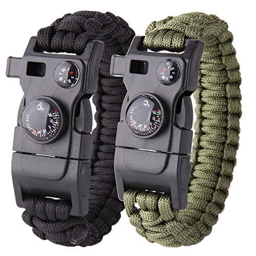 Pulsera Paracord Survival 16en 1, máxima Carga de 250kg, Multiusos, con pedernal, sedal y Anzuelo, brújula, Silbato, Cuchillo, termómetro, Pack de 2