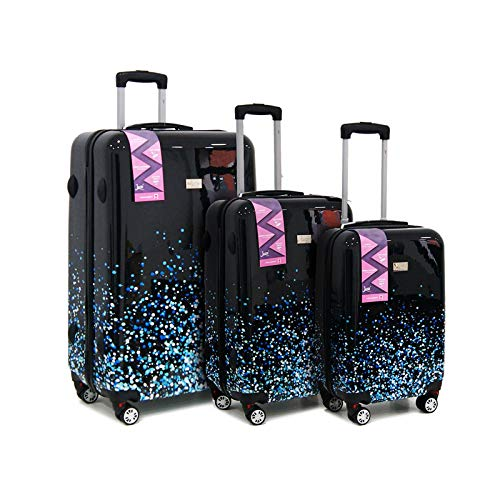 Ryan Air Easy Jet British Airways ABS rigida 4 ruote spinner bagaglio a mano set 3 pezzi valigia trolley, Moon Dust (Nero) - 1110
