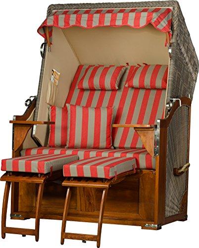 Möbelpromenade Strandkorb Juist Mahagoni PE Grau Dessin Rot Beige fertig aufgebaut