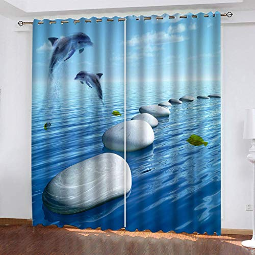 LLPZ Cortinas De Impresión Creativa del Mar Delfín, Cortinas De Poliéster Resistentes Al Desgaste, Cortinas Insonorizadas para Dormitorio 2 × 140 × 175