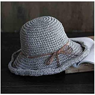 WYMAI Straw Hat, Summer Sun Hat with Foldable Curled Visor, Beach Hat, Simple Bow Casual Straw Hat, Hollow Crochet Fisherman Hat, Gray, Light Coffee Simple and Practical Product (Color : Gray)