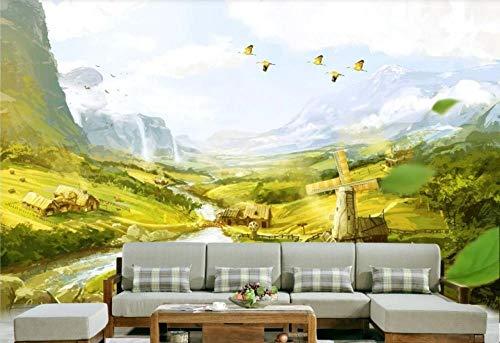 Tapete 3D Fototapete Handgemaltes Ölgemäldelandschaftsmalerei-Vogelhaus Kreativ Wandbild Wohnzimmer Küche Schlafzimmer Wandtapete Dekoration