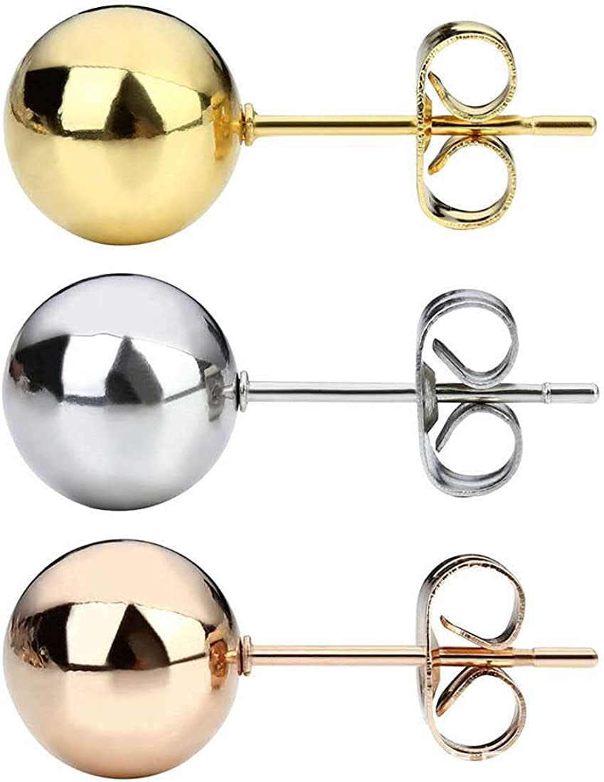 3 Pairs of Steel Ball Titanium Steel Earring 3MM Round Ball Stainless Steel Earring Gold Bean Needle Earrings for Girls Students Gifts