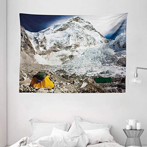 N\A Camper Tapisserie, Everest Peak Base Camp Landschaft auf schneebedeckten Bergen ICY High Peaks Art Image, breite Wandbehang für Schlafzimmer Wohnzimmer Wohnheim, weiß grau