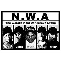 commercial Buyartforless NWA Lineup 36 × 24 Music Art Print Poster-Ice Cube-MC Ren-Eazy-E-Yera -… rap artist posters