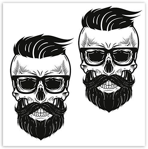 SkinoEu® 2 x Autocollants Vinyle Stickers Skull tête de Mort Lunettes Barbe Inscription pour Voiture Moto finestrìno Porte Casque Scooter Vélo Motocycle Tuning B 108
