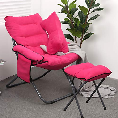 HXMSXROMIDA Garden Relaxer Chairs With Arms Velvet Upholstered 3-Position Adjustable Backrest Foldable Home Office Yard Deck Chair Furniture,Pink,Chair+Footrest+Pillow