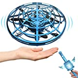 IOKUKI 2 in 1 Hand Operated Drones for Kids or Adults/Magic Wand Control Flying Toy Hand Free Mini Drone Small UFO Flying Ball for Girls and Boys Easy Indoor UFO Drone (Blue)