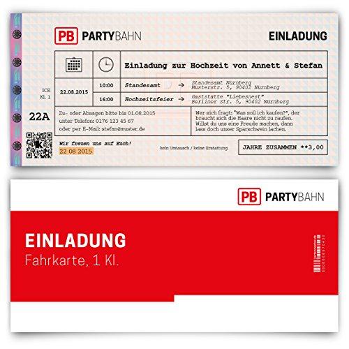 Einladungskarten zur Hochzeit (20 Stück) als Bahnkarte Bahn Karte Zug Ticket Zugticket
