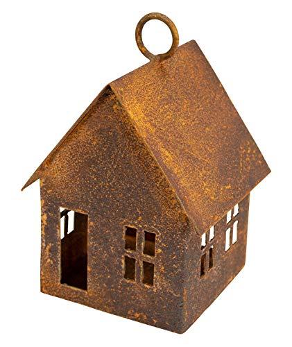 Manufaktur-Lichtbogen Edelrost Haus zum aufhängen - Vogelfutterhaus oder Windlicht Gartendeko Rost