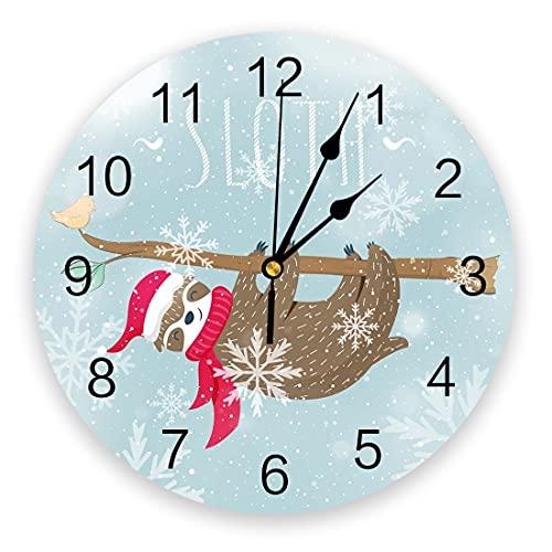 Rgzqrq Perezoso Colgante Tronco de árbol Nieve Reloj de Pared niña niño Dormitorio baño Cocina Sala de Estar Oficina Reloj Redondo 25x25 cm