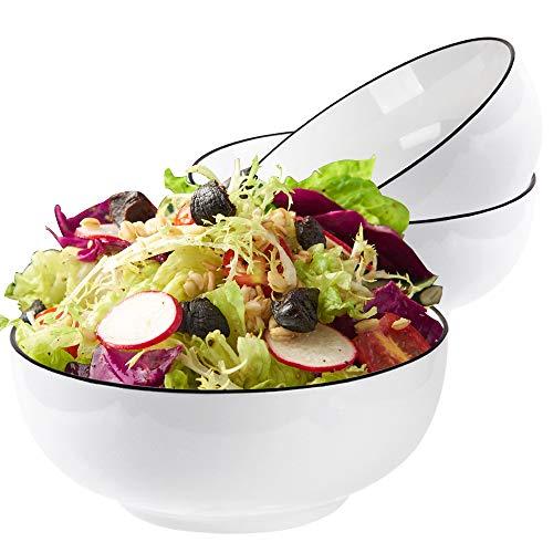 Gutsdoor Salad Soup Bowls 60 Oz Super Large White Bowls Stackable Round Mixing Bowls Fine Porcelain Serving Bowls Set for Cereal, Soup, Pasta Salad, 3 Pack