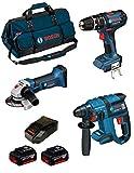 Bosch Kit psb3m3Professional (GBH 18V-EC + GSB 18-2-LI + GWS 18V-LI + 2Baterías X 4,0Ah + lbag + Cargador AL1860CV)