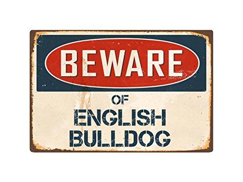 "StickerPirate Beware of English Bulldog 8"" x 12"" Vintage Aluminum Retro Metal Sign VS159"