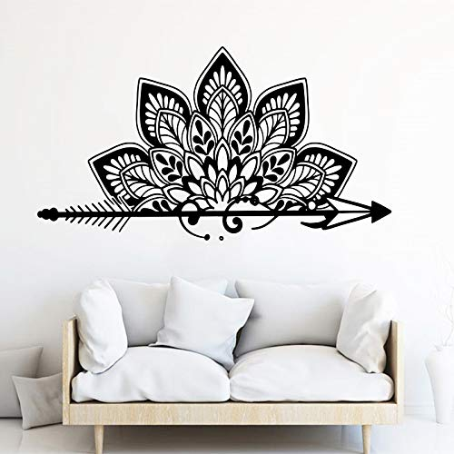 Tianpengyuanshuai Mandala Lotus Kids Room Baby Arrow Mandala Yoga Dormitorio Tatuajes de Pared Decoración de Vinilo -84x46cm