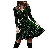 Vestido largo de verano para mujer, estilo bohemio, cuello en V, manga larga, vestido de playa, vestido retro, hasta la rodilla. verde S