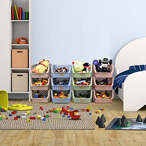 Titan Mall Stackable Storage Bins for Food, Snacks, Bottles, Toys, Toiletries, Plastic Storage Baskets Set of 4, 15x10x7 Inch/bin, Blue-Green-Pink-Khaki Color Shelf Baskets
