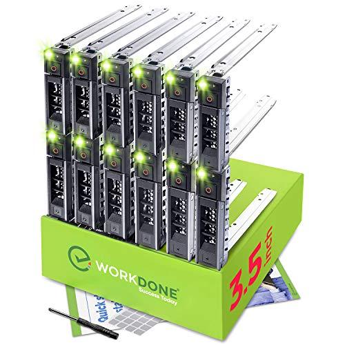 """WORKDONE Paquete 12 - Unidad Disco Duro 3,5"""" - Compatible con Servidores DELL PowerEdge de 14-15 Gen. Seleccionados - Manual Instalación - Etiquetas Adhesivas, Destornillador, Robustos Tornillos"""