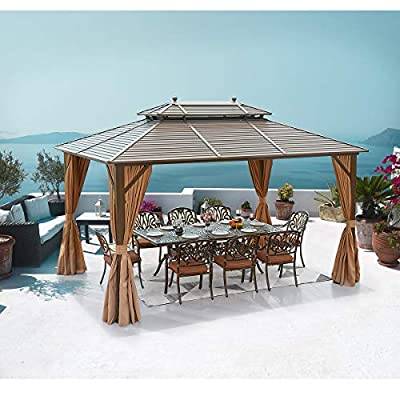 MELLCOM 10' x 13' Hardtop Gazebo Galvanized Steel Outdoor Gazebo Canopy Double Vented Roof Pergolas Aluminum Frame with Netting and Curtains for Garden,Patio,Lawns,Parties