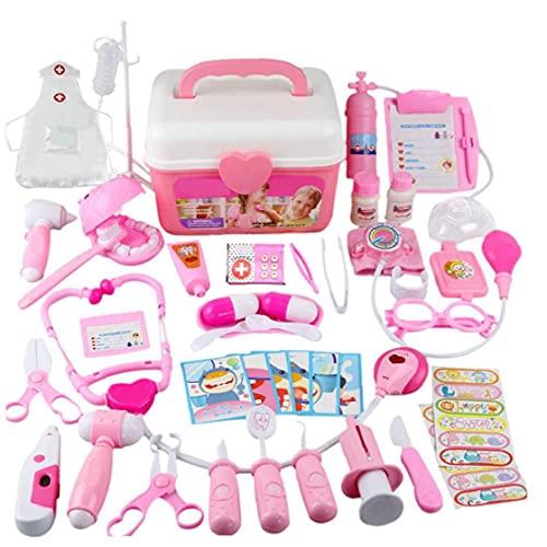 Doctor Toy Kit Kit para Nios Fingir Doctor Kit Set, 44pcs Doctor Disfraz Prear Play Play Medical Dentist Toys Carry Case Dress-up Juego con Estetoscopio Electrnico Y Abrigo para Nios